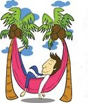 85965-Royalty-Free-RF-Clipart-Illustration-Of-A-Relaxed-Businessman-Napping-In-A-Hammock-Between-Coconut-Palm-Trees
